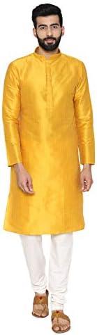 Manyavar Men's Yellow Full Sleeve Regular Fit Textured Kurta & Chur