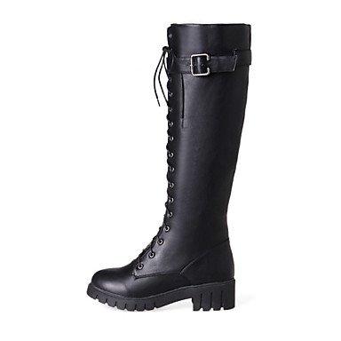 GLL&xuezi Da donna Stivaletti Stivali Autunno Inverno Finta pelle Casual Formale Lacci Heel di blocco Nero Grigio Verde militare 5 - 7 cm black