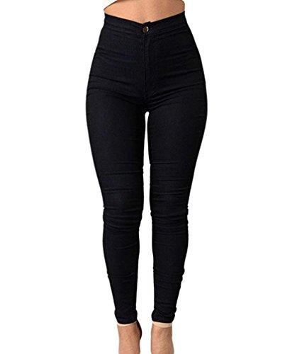 Zkoo donna a vita alta leggings elastico skinny jeans pantaloni in denim lunghi matita pantaloni nero