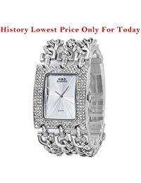 Sheli Damen Groß Entwurf Diamanten Silber Wasserdichte Quarz Armbanduhren