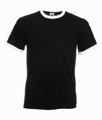 Fruit of the Loom Ringer T-Shirt, vers. Farben XXL,Schwarz / Weiß