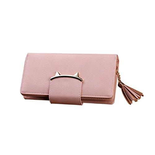 Swallowuk Damen Mode PU Leder Wallet mit Reißverschluss Portmonee Geldbeutel Schnalle Geldbörse (Rosa) (Geldbörse Strass-schnalle Handtasche)
