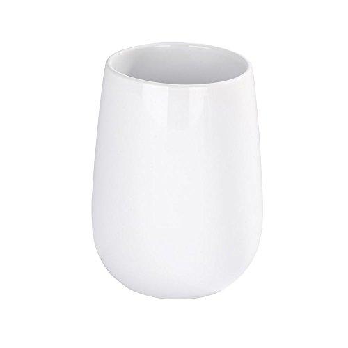 WENKO 21653100 Zahnputzbecher Malta - Zahnbürstenhalter für Zahnbürste und Zahnpasta, Keramik, 13.6 x 39 x 13.6 cm, Weiß