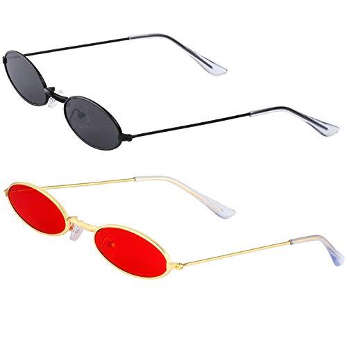 Haichen Vintage kleine ovale Sonnenbrille für Frauen Männer Retro Hippie Brille Metallrahmen Bonbonfarben (Grau + - Hippie Kostüm Für Jugendliche