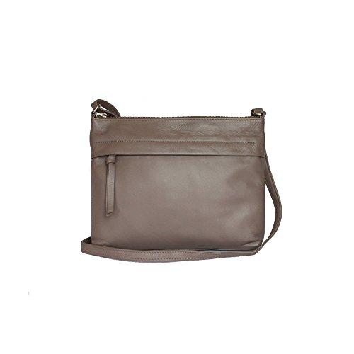 Eastern Counties Leather Damenhandtasche Callie mit Seitentasche vorn Taupe