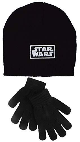 Kids Star Wars - Set berretto e guanti magici con logo nero, 4 - 8 anni, colore: Nero
