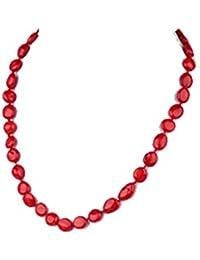 TreasureBay Collar de coral rojo natural, 50 cm, presentado en una bonita caja de regalo