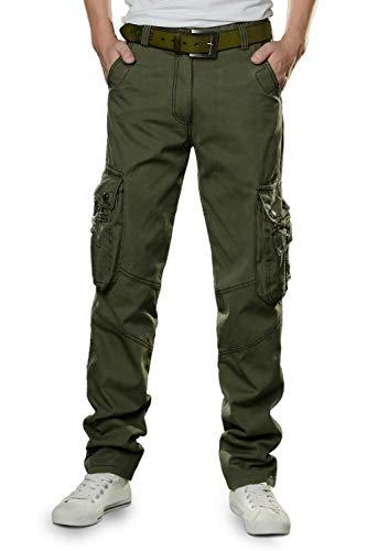 TAIPOVE Uomo Cargo Casual Pantaloni Uomo Harem con Tasche Laterali Jogging Basso Sportivi Cotone Slim Fit Verde Militare 34