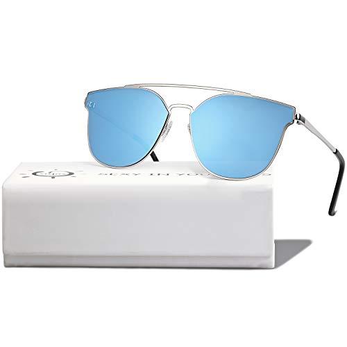 SOJOS Handgemacht Rostfreier Sathl Hochwertig Kein Nickel Schicke Sonnenbrille für Damen Herren Verspiegelt SJ1100 mit Silber Rahmen/Blau Verspiegelte Linse