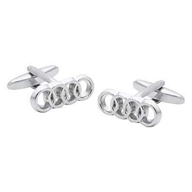 Argent Audi logo voiture mens boutons de manchette - coffret cadeau de luxe inclus