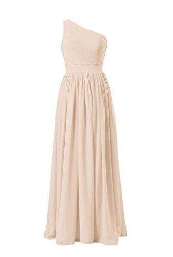 daisyformals épaule dénudée longue robe de demoiselle d'honneur en mousseline de soie vintage robe de mariage Parti (BM122) Beige - #50-Champagne