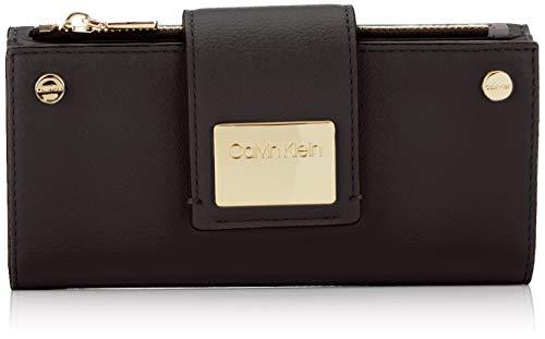 9798a9381724bf Calvin Klein Damen Ck Lock Lrg Trifold Clutch, Schwarz (BLACK) 3.5x10x19 cm