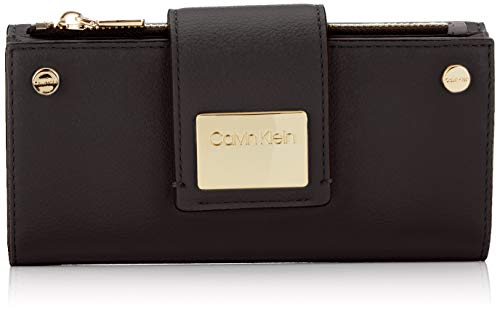 Tri-fold Clutch (Calvin Klein Damen Ck Lock Lrg Trifold Clutch, Schwarz (BLACK) 3.5x10x19 cm)