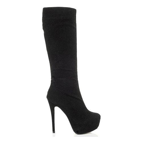 Donna tacco alto locale notturno stivali piattaforma al ginocchio festa taglia Scamosciata nera