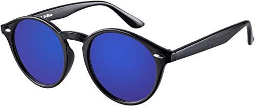 La Optica UV 400 Damen Herren Retro Sonnenbrille Rund Round - Einzelpack Glänzend Schwarz (Gläser: Blau verspiegelt)