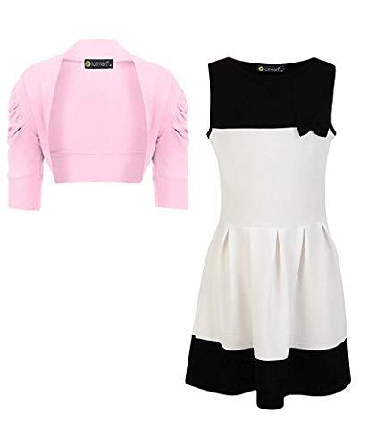 LotMart Mädchen Schleife Kleid und Jacke Bolero Bündel (2 Stück) - Weiß-Schwarz und Baby Pink, 122-128 -