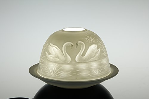 Teelicht Dome-Lights Romantik-Licht 12 cm Porzellan Schwäne