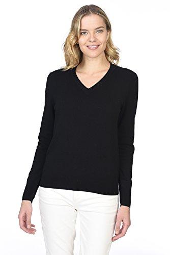 STATE CASHMERE langärmliger Pullover aus 100 % reinem Kaschmir mit V-Ausschnitt für Damen (Kaschmir-pullover Damen V-ausschnitt)