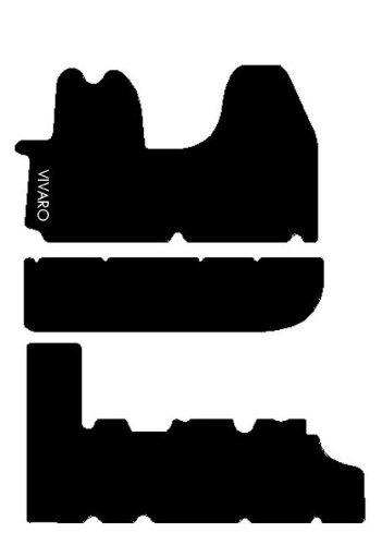Tappeti per Veicoli Commerciali, Set Completo di Tappetini su Misura in Moquette Neri con Ricamo a Filo Bianco