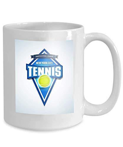 Kaffee Tee Tasse Tasse Tennis Sport Logo Label Emblem Tennis isoliert Abzeichen Logo Vorlage Sport Club Emblem College League Logo 110z -