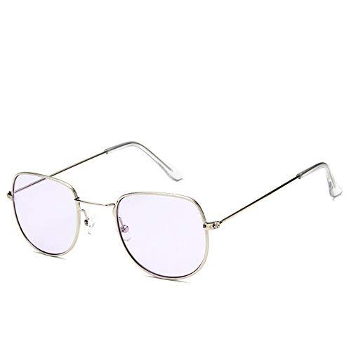 Sonnenbrille Sonnenbrille Retro Metallrahmen Uv400 Klare Linse Plain Gläser Reisen Im Sommer Sonnenbrillen Für Männer Frauen Spiegel Silber Violett (Plain Gläser Wayfarer)