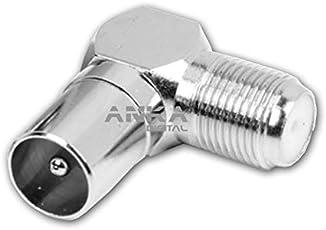 AnKa-Digital Winkel Adapter 90° Koax IEC Stecker männlich auf F-Buchse Kupplung weiblich abgewinkelt Sat TV BK Adapter Antenne Kabel Stecker