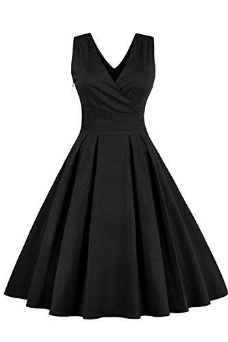 Babyonline 50s Vintage Retro Rockabilly Kleid Sommerkleid Partykleid Cocktailkleid Knielang Schwarz 4XL