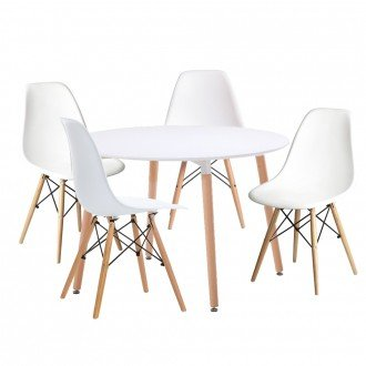 Woopi Conjunto Mesa 100 + 4 sillas Tower Blancas: Amazon.es: Hogar