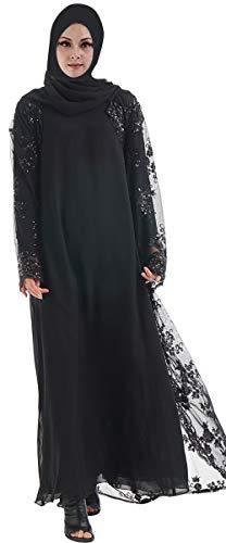 YI HENG MEI Damen Elegante Muslimische Islamische Funkeln Pailletten Reines Mesh Langarm Länge Abaya Kleid mit Gürtel Übergröße,Schwarz,Tag XXL Länge 153cm
