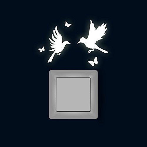 Lichtschaltertattoo Lichtschalteraufkleber Lichtschaltersticker Wandtattoo Wandbild Kolibris mit Schmetterlingen fluoreszierend M1886