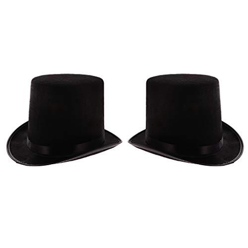chiwanji 2 Stück Vintage Gentlemen Black Top Hat - Black Velvet Magician Hat Kostüm, Vintage Steampunk Derby - Black Top Hats Kostüm
