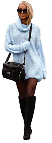 Damen Strickpullover Sweater Rollkragen Pullover Jumper Strick Pulli Oversize (648) (Hellblau)