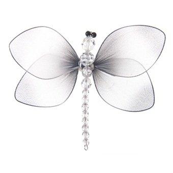 Schwarz und Weiß Nylon Hauchzarte Libelle mit Bead Körper und Clip auf Rückseite-Deko Libellen Glitter Mesh Wings