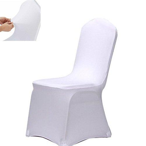 Acelectronic Stuhl Husse, 10 Stück Universell Stuhlhussen Stretch Stuhlbezug Stuhlüberzug der Haus Hochzeit Dekoration,Weiß (Hussen Ein Stück)