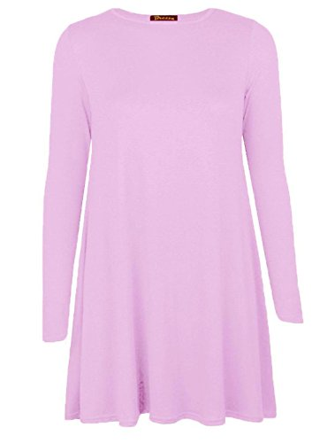 Islander Fashions femmes manches longues Swing patineuse robe dames col ras du cou fantaisie Party Wear robe Top S / 3XL Baby Pink