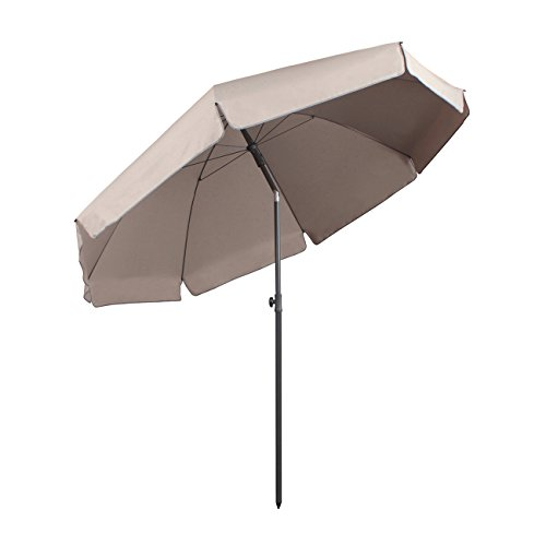 Sekey Parasol Ø 240 cm inclinable pour Patio Jardin Balcon Piscine Plage Beige/Taupe Rond Sunscreen UV25+