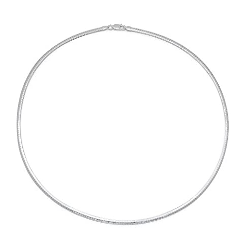 4.3mm Solid 925 Sterling Silver Omega Link Italian Crafted Chain,