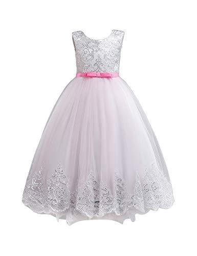 besbomig Ragazza dei Bambini Matrimonio Damigella d'Onore Vestito da Principessa - 4-12 Anni V-Back Comunione Festa Vestiti da Sera A-Line