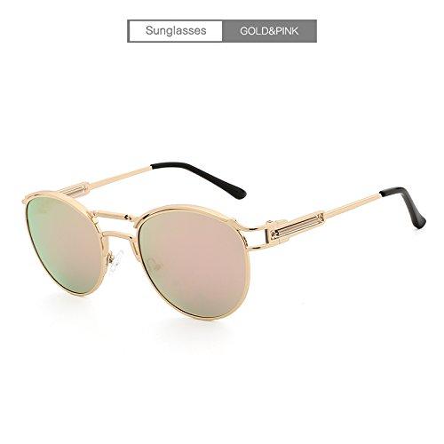 Mjd Sonne Brand Design Klassische polarisierte Sonnenbrille Herren Damen Driving Square Frame Sonnenbrille Herrenbrille UV400 Gläser (Color : Gold+pink)