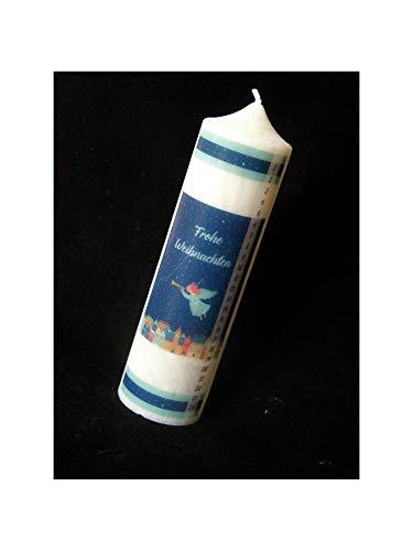 Candle making Stearin Kalenderkerze 200/60 mm Adventskerze Adventskalender Haus blau-Kerze mit Zahlen 1-24 Weihnachtskerze Stearinkerze