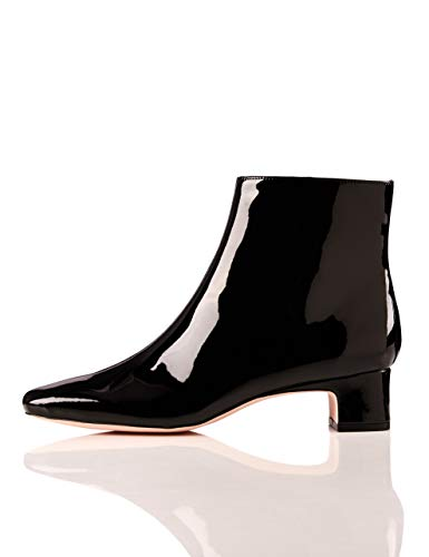 find. Block Heel Square Toe Stiefeletten, Schwarz Black Patent), 36 EU (Square Toe Black Boots)