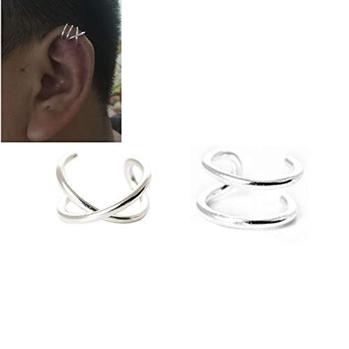 HOMEYU® 925 Sterlingsilber Keine Piercing Ohrmanschetten Doppellinien Ohrmanschette für oberen Ohrknorpel, Fake Conch Ohrring 1 Paar