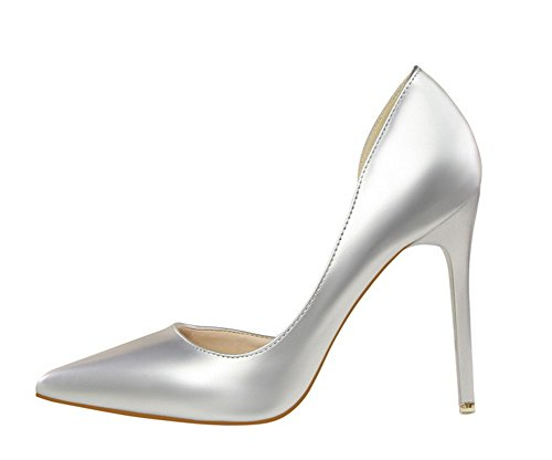 Wealsex stiletto high heels damen elegant pumps Silber