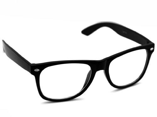 Oramics® Schwarze Retro Wayfarer Sonnenbrille Nerd Brille klar & schwarz