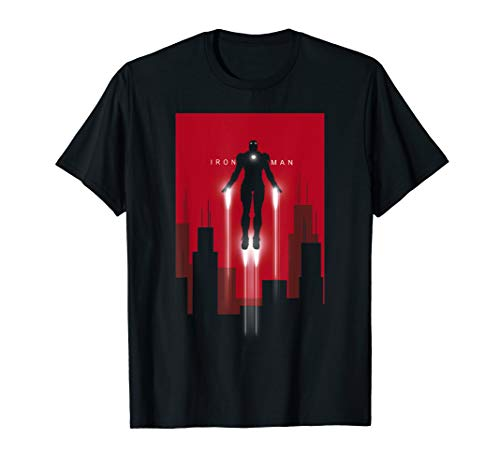 Marvel Iron Man in Flight Deco Art Style Graphic T-Shirt