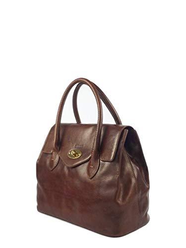 Giudi Handtasche Damen Echtleder Braun Henkel-Tasche Mit Steckverschluss Vielen Fächern Elegant Business Dezent Hochwertig Ökoleder Nachhaltig