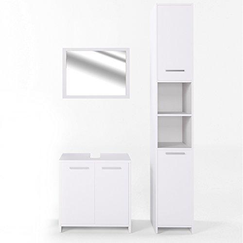 VICCO Badmöbel Set KIKO Weiß Hochglanz / Grau Beton - Badspiegel + Unterschrank + Bad Hochschrank + Bad Midischrank (Weiß, Set 3)