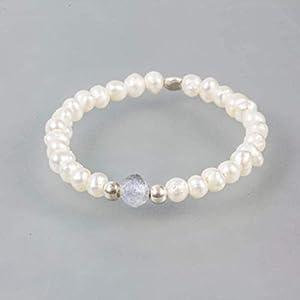 Echter Perlenring für Damen mit Süßwasser-Perlen, Labradorit und 925 Sterling Silber