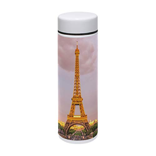 MUOOUM Gold Paris Eiffelturm City Vakuumisolierte Edelstahl-Reisebecher Sport Wasserflasche 19,1 ml heiß für 12 Stunden