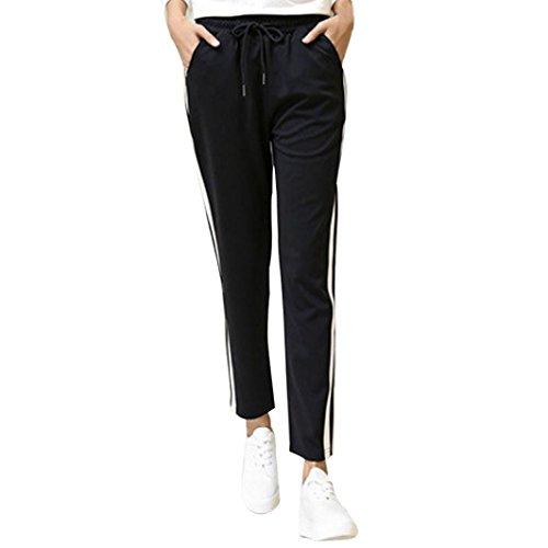DOLDOA Art- und Weisefrauen-Seitenstreifen keucht Frauen-schwarze beiläufige Hosen (Größe: 40 Taille: 74cm / 29.13